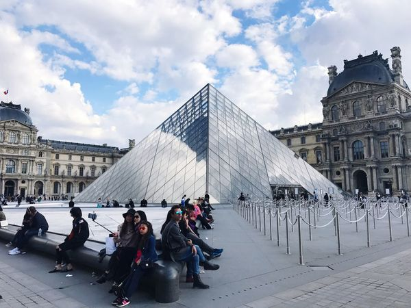 Architecture Built Structure Building Exterior Cloud - Sky Sky Large Group Of People Travel Destinations Real People History Tourism Travel Women Day Museum Men Leisure Activity Outdoors Lifestyles City Vacations Paris, France  Paris Je T Aime Paris ❤ Louvre Louvre Museum EyeEmNewHere Neighborhood Map Connected By Travel