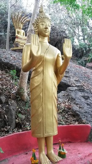 Buddha Luang Prabang City Architecture Art And Craft Belief Built Structure Craft Creativity Day Human Representation Idol Male Likeness Nature Plant Religion Representation Sculpture Solid Spirituality Statue Tree