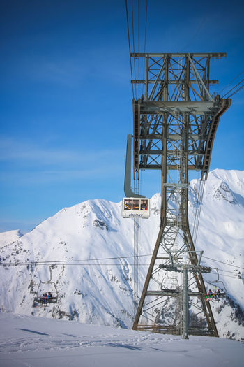 Snow Winter Cold Temperature Mountain Cable Car Sky Nature Covering Scenics - Nature White Color No People Beauty In Nature Day Architecture Built Structure Snowcapped Mountain Land Tranquil Scene Connection Transportation Outdoors Skiing Winter Sport French Alps