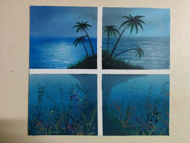 """Hi dear Holly ,this is for you sweetheart as I promised ,Palms,oil on canvas 18""""_18"""", Nature Palm Tree Blue Blue Sky Deep Blue Water Blue Ocean Silhouette_collection Art, Drawing, Creativity Drawing My Art Colllection Oil Painting ArtWork Fine Art Fredom My Best Friends ❤ Friendship. ♡   Love ♥ Koi. With my dear Holly"""
