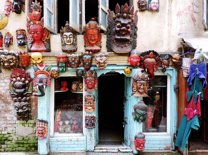 Statues on building outside temple