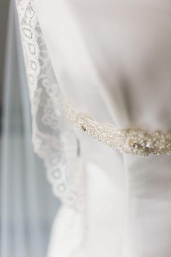 Close-up of wedding dress