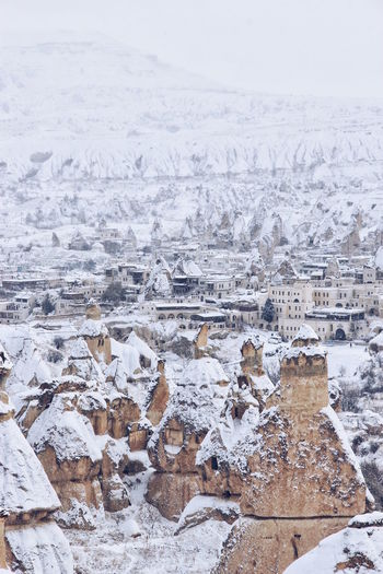 Winter in Goreme, Capadocia. Another planet. This is so different to what this place is often captured: summer with lots of hot air baloon, little that people know this place is amazing in winter. Aerial View Beauty In Nature Cappadocia Cold Temperature Covering Day Goreme Open Air Museum Göreme Idyllic Landscape Nature No People Non-urban Scene Outdoors Scenics Season  Sky Snow Tranquil Scene Tranquility Turkey Weather