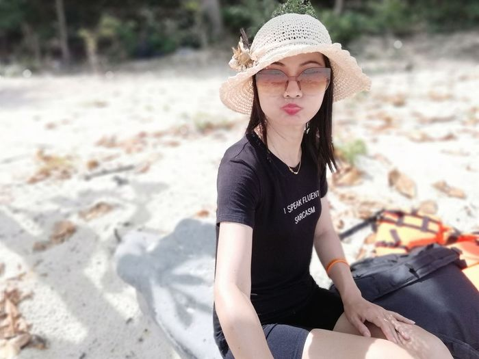 EyeEm Selects Hat One Woman Only Young Women One Young Woman Only Sun Hat Sand Beach Nature