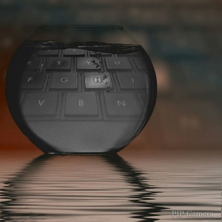 Fish Bowl Keyboard Water Abstract Picture In Picture Letters Computer