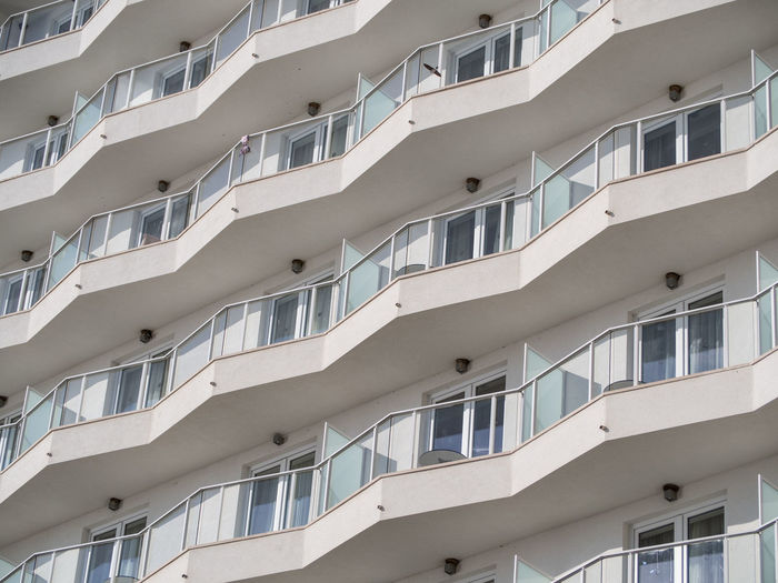 Full frame view of balconies on a hotel complex