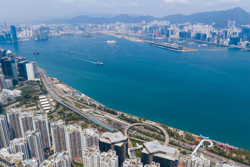High angle view of city at waterfront