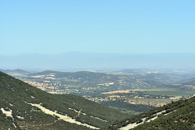 High angle view of landscape against clear sky