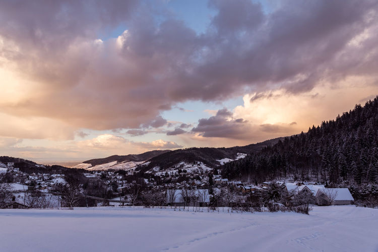 Burning snow Beauty In Nature Cloud - Sky Cold Temperature Day Dramatic Sky Landscape Mountain Nature No People Outdoors Scenics Sky Snow Sunset Winter Bühlertal Shades Of Winter