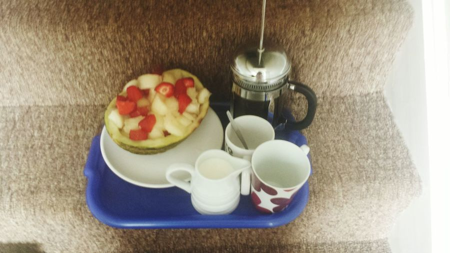 Saturday morning Breakfast in bed Coffee Strawberry And Melon
