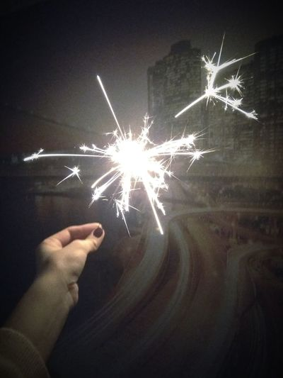 Human Hand Human Body Part Firework - Man Made Object Celebration Sparkler Firework Display Star - Space Night Illuminated People One Person