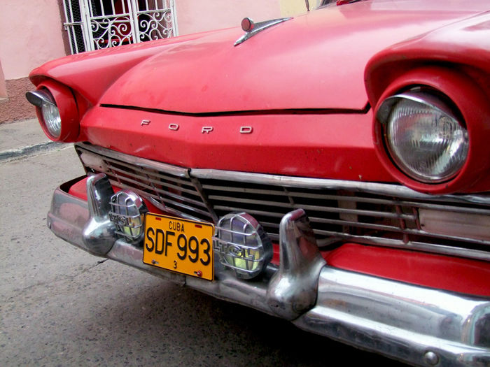 Cuba Car Communication Cuba Car Day Fire Engine Ford Land Vehicle Mode Of Transport No People Old Car Old Ford Old-fashioned Outdoors Red Red Car Stationary Text Transportation