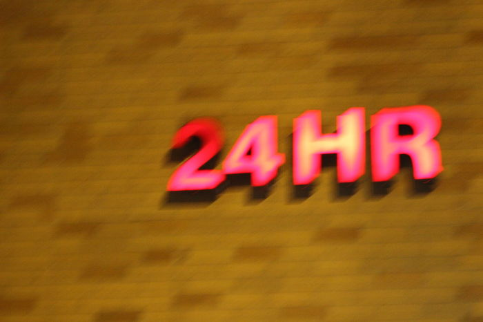 24 Hours Blurred Brick Close-up Drugstore Focus On Foreground No People Pink Color Red Selective Focus
