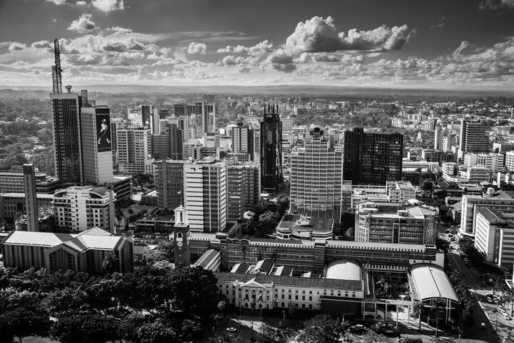 Kenya Nairobi Skyline Africa African City Blackandwhite Cityscape Cloud - Sky High Angle View Monochrome Sky