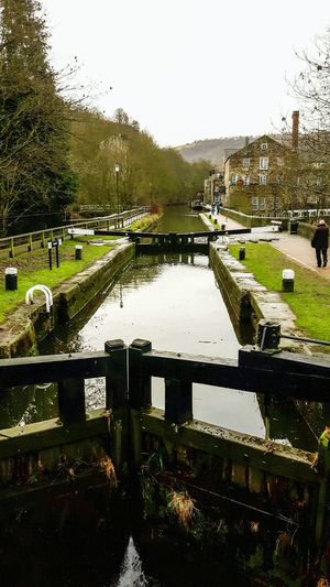 Lock Lock Gates Canal Towpath Mill Chimney Hebden Bridge Yorkshire Pennines