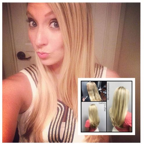 Beautiful long blonde hair @znevaehsalon @lorealprous Check This Out Eye4photography # Photooftheday L'Oreal Professionnel Z Nevaeh Salon Knoxvillesalon Blonde Blondehair Color Specialist Tecni.art Hairstyle