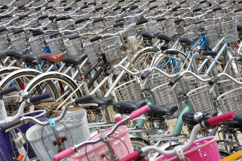 Full frame shot of bicycles in parking lot