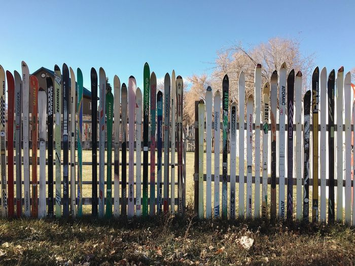 small section of a fence made entirely from old skis. seen in Heber City Wasatch County Utah