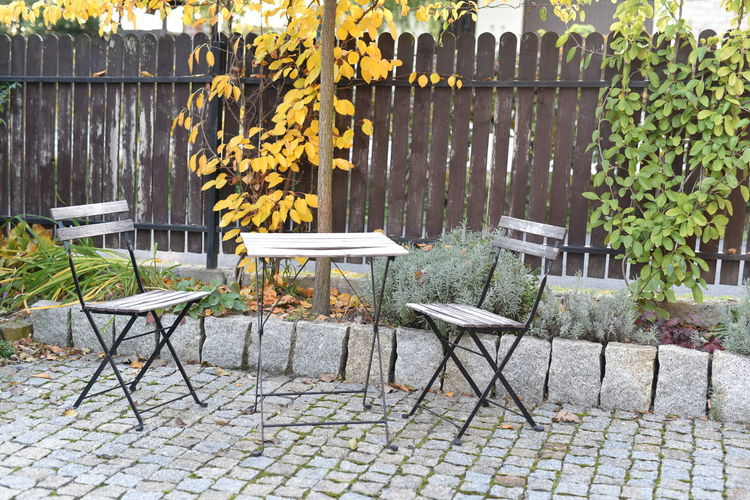 Chairs and table in an autumn abandoned garden Alone Autumn Chair Loneliness Lonely Romantic Trees Abandoned Autumnal Background Depression Empty Fence Garden Photography Melancholy Nostalgia Outdoors Park Peaceful Sadness Seat Silence Table