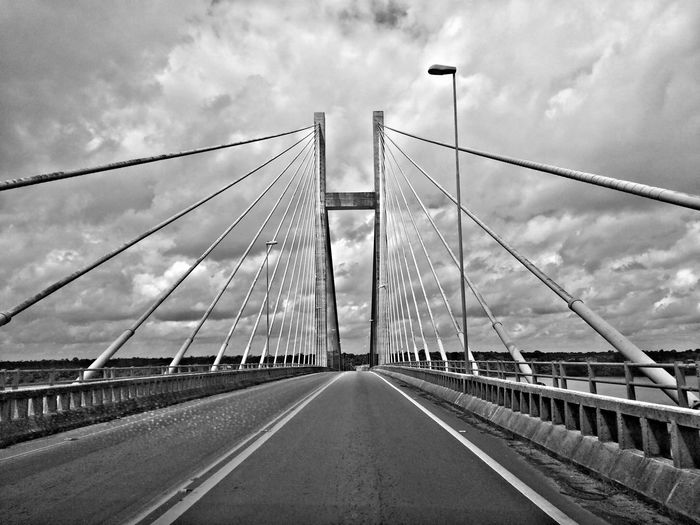 Engineering Architecture Travel Destinations Travel Transportation Connection Cloud - Sky Sky Traveling Home For The Holidays Bw_photooftheday Pontes Black & White Suspension Bridge