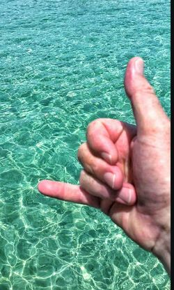 Ocean Water Reflections Dude Hand Hand Signal Surfs Up Calibunga Reflections Water Photography Tuquoise Aqua Green Aqua Blue Water Aqua Aquatic Gulf Of Mexico Southern States South ROCK ON! Rock On Eyeem Photo Color Palette Two Is Better Than One