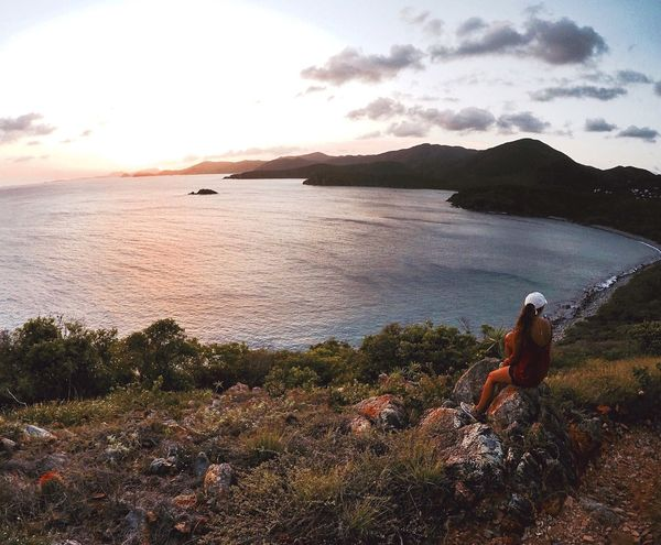 Lost in the right direction 📍 VirginIslands StJohn Sun Sunset Nature Ocean Carribean Carribean Sea Girl Hike Wanderlust Travel Destinations Travel Travel Photography Tropical Paradise Travelblogger