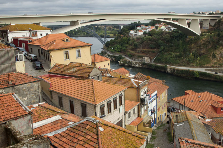 Bridge Crowded Crumbling Building Day Dense Density Europe Horizontal Housing Infrastructure No People Old Old Buildings Old Vs New Porto Portugal River Riverside Terraced Traditonal Transportation Village