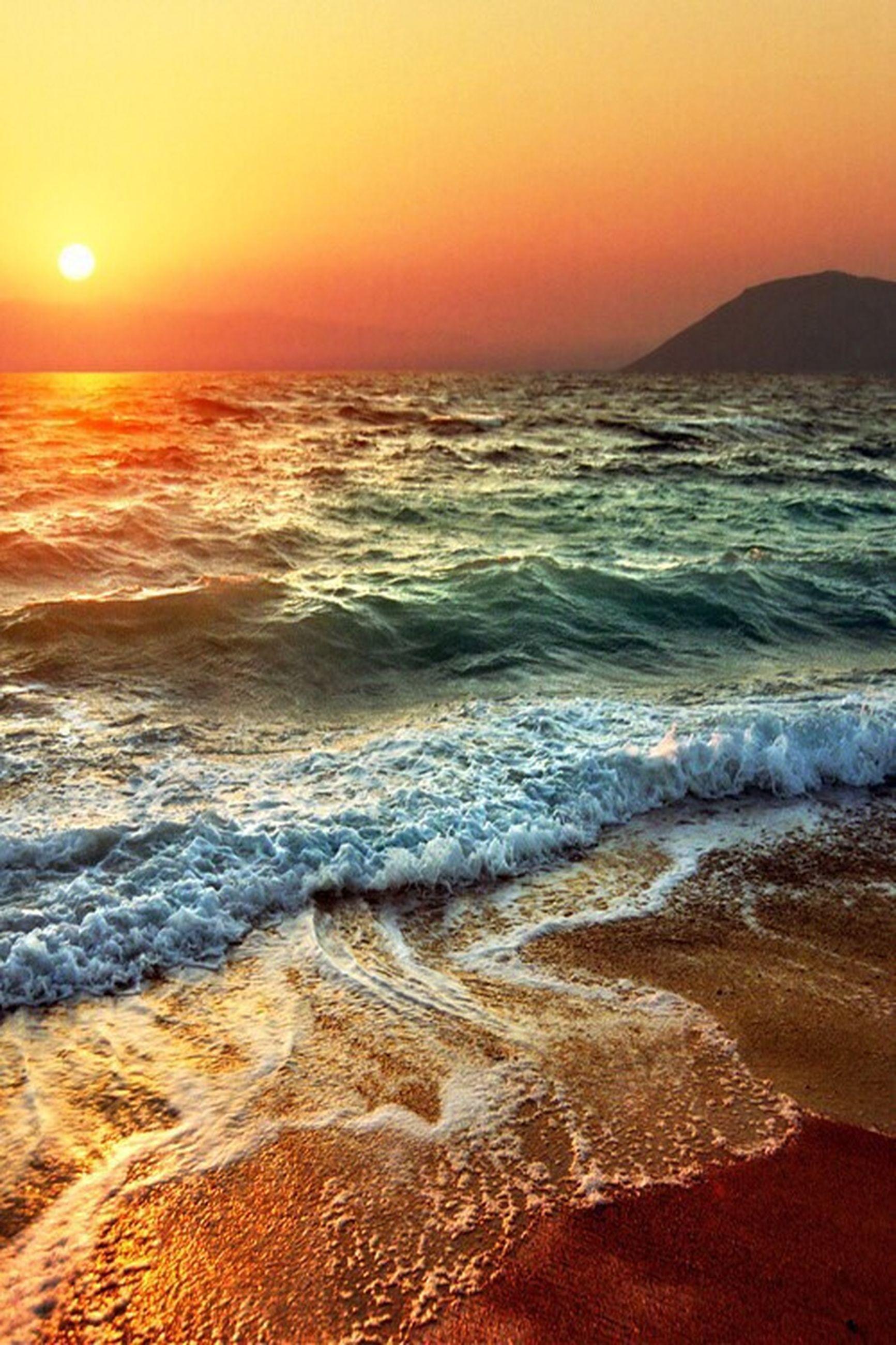 sea, sunset, water, beach, scenics, beauty in nature, wave, horizon over water, tranquil scene, orange color, shore, tranquility, sun, surf, idyllic, nature, sky, tide, sand, coastline