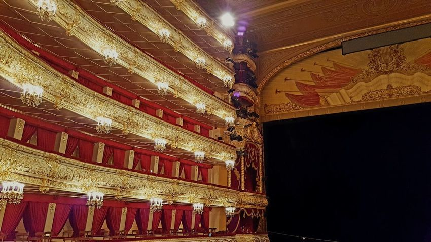 Indoors  Illuminated Built Structure Architecture No People Gold Colored Bolshoi Theatre Bolshoi Theater Royal Box Seats Theatre Theater Social Life Travel Destinations Communist Era Communist Architecture Russia Moscow Stage Theater Curtain Arts Culture And Entertainment