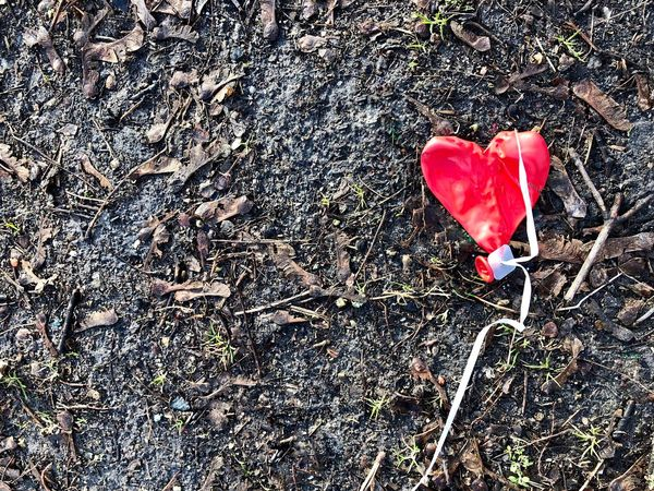 When all is said and done. Balloon Leftbehind Broken Heart At The End Of The Day After Party Lost And Found Heart ❤ Heart Red High Angle View