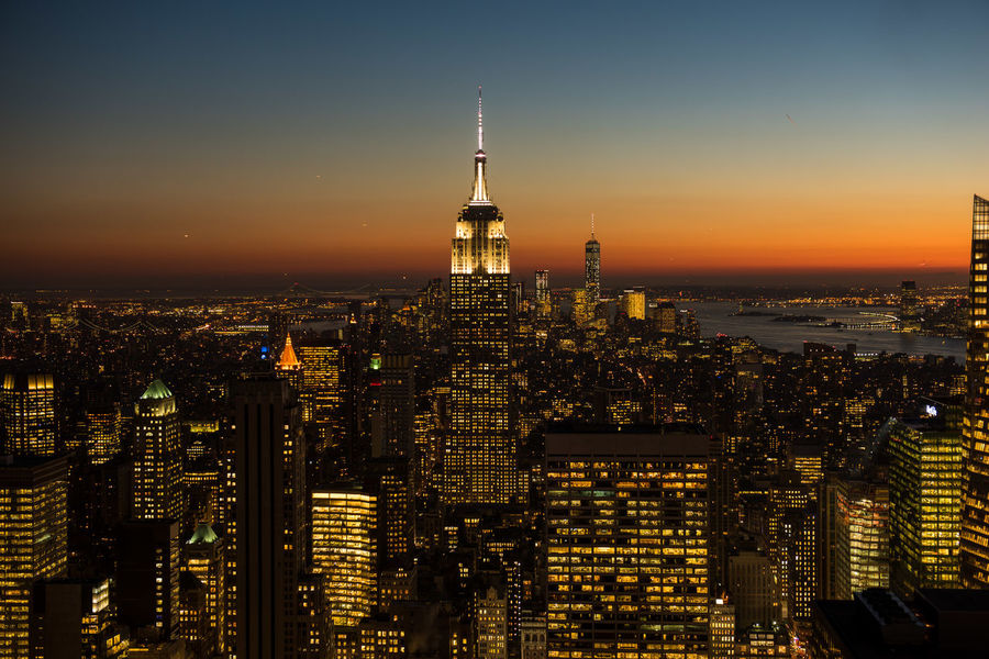 View from the Top of the Rock in New York City Dusk Empire State Building New York New York At Night New York City New York Skyline  Top Of The Rock United States