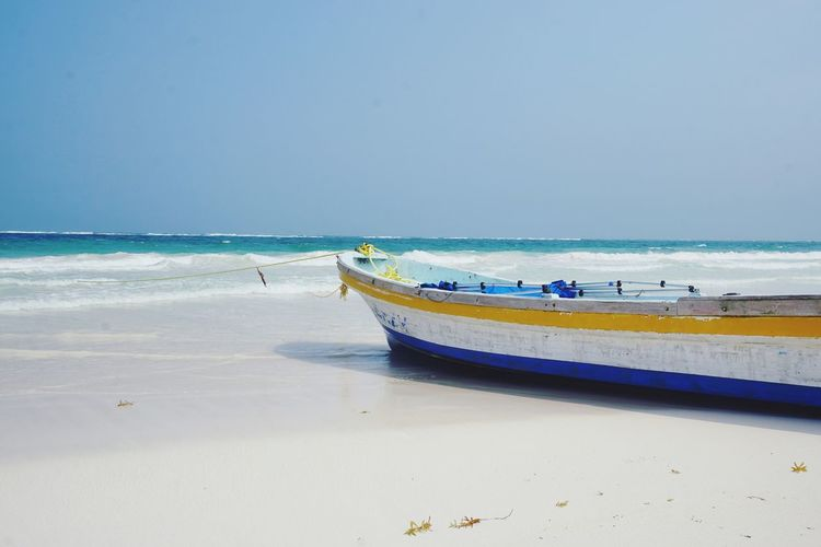 Tulum Beach Wanderlust Traveling Mexico Tulum Life Is A Beach Nautical Vessel Water Sea Beach Wave Sand Low Tide Clear Sky Sunny Sky Fishing Boat