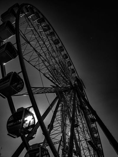Amusement Park Ferris Wheel Arts Culture And Entertainment Amusement Park Ride Low Angle View Rollercoaster Night Sky Outdoors OC Fair Ground Oc Fairgrounds Ocfair2017 Ocfairgrounds OC Fair Ocfair EyeEm Best Shots EyeEm Black And White Photography Black & White EyeEm Best Shots - Black + White