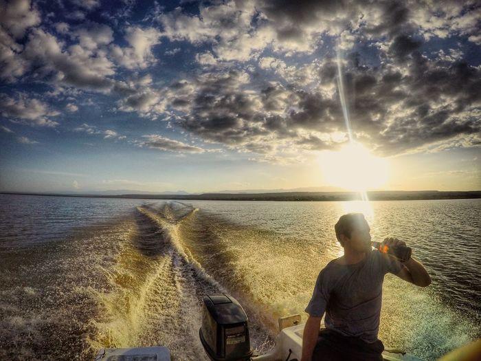 A boat crossing sundower on Lake Baringo Samatianisland Lakebaringo Kenya Equator Boat Sundowner Sunset Sunset_collection Boatcrossing Beersandboats Beer