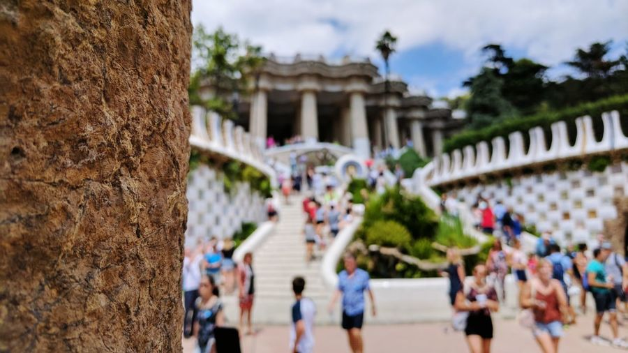 Large Group Of People Built Structure Architecture Travel Destinations Outdoors Architectural Column Day Building Exterior Sky People Tree Real People Ancient Civilization Adult Adults Only Barcelona Spaın Architecture Summer Vacations Landscape Blur