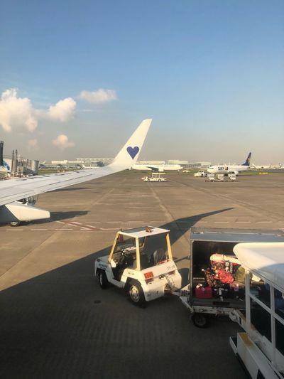今日は青いハート💙 初めて見た*\(^o^)/* #スカイマーク #SKYMARK Skymark Airlines Skymark Airport Transportation Mode Of Transportation Sky Water Nature Day Land Vehicle
