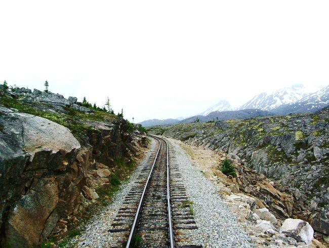 Railroad Tracks Railway Journey Route Yukon Pass Railroad Ties Experience