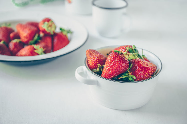 Summer strawberries Berry Fruit Bowl Close-up Focus On Foreground Food Food And Drink Freshness Fruit Fruit Salad Healthy Eating Indoors  Indulgence No People Plate Ready-to-eat Red Still Life Strawberry Table Temptation Wellbeing