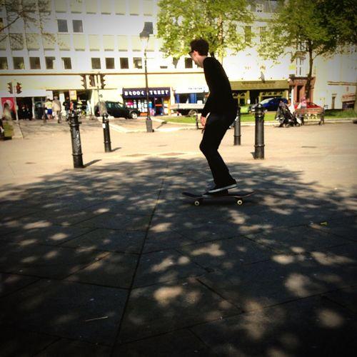 Skateboarding Man Walking Around Taking Photos Plaza Bristol On The Move