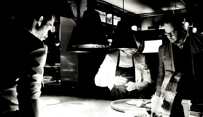 Adults Only Only Men Togetherness Foodporn Chefstalk Making Moon Restaurant Working Food Adam Toren Kitchen Serving Food And Drinks Adam Lookout Chef At Work Cheflife Food And Drink Cheff Black & White Photography Busy Service Inspiration Vegetarian Food Standing Teamwork