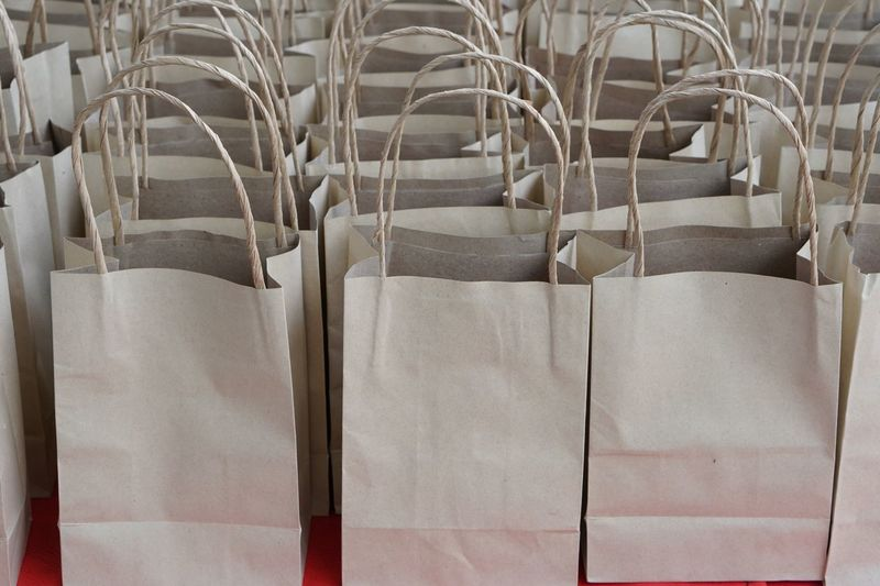 Full frame shot of paper bags