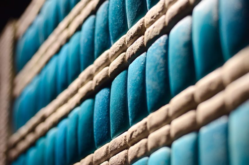 Tile Backgrounds In A Row Full Frame Blue Textile Stack No People
