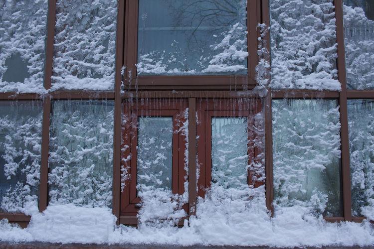 Full Frame Shot Of Frozen Window
