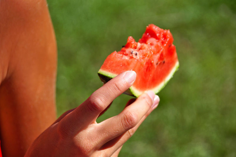 Cropped Image Of Woman Holding Watermelon Slice