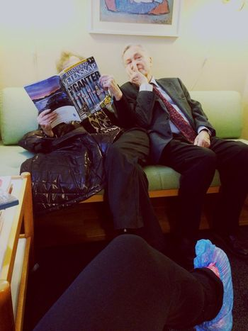 Everyday Joy between the married couple at the dentist office! Married for 65 years, he couldn't sit any closer? Couple Marriage  Hanging Out Relaxing Happy People Love Bromma Sweden