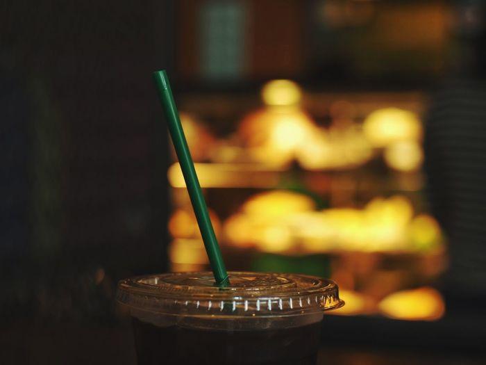 Brown Yellow Dark Starbucks Americano Coffee Paintbrush Close-up Drinking Straw Iced Coffee