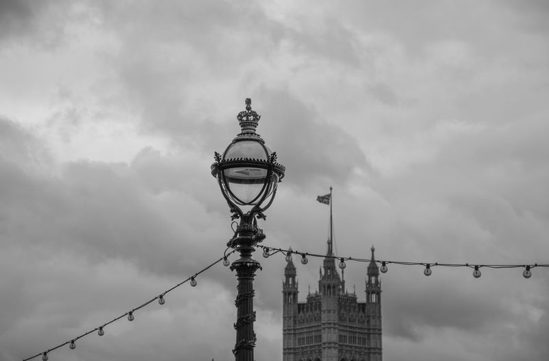 Sky Cloud - Sky Low Angle View Lighting Equipment Architecture Built Structure Street Street Light Nature Building Exterior Tower No People Day Outdoors Travel Destinations Dusk Technology Metal Connection Spire  London England, UK Traveling Eyeem Travel Monochrome