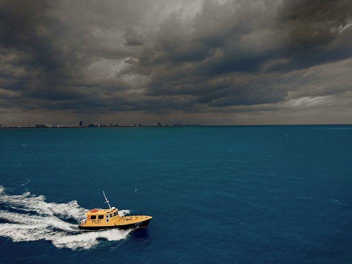 Miami Miami Beach Miami, FL Pilot Boat Miami Pilot Overcast Sky Sea And Sky Dark Clouds On The Way Boat Underway Seamans Pictures Seaman Life At Sea Seafarer