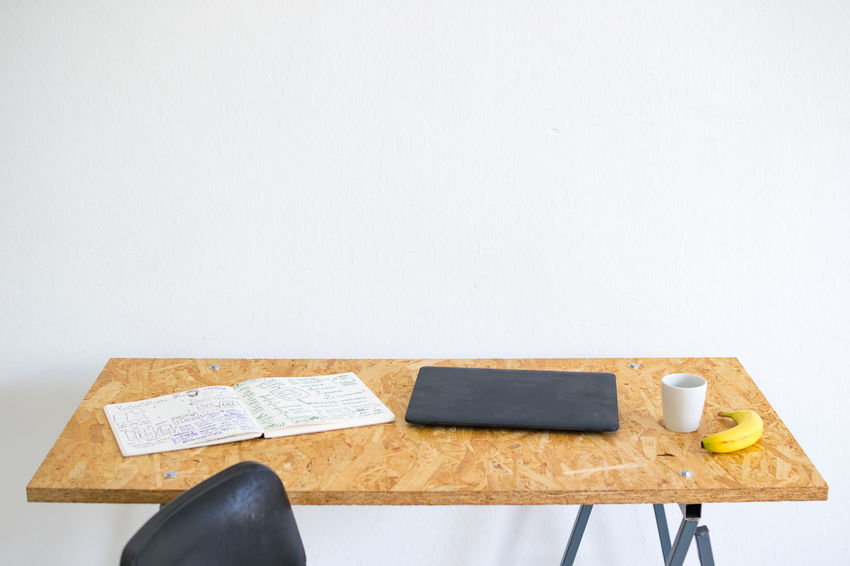 At The Office Barren Chair Chalkboard Copy Space Creative Work Place Cup Daylight Desk Empty Essentials Interior Interior Design Minimal Minimalist Notebook Office Office Life Plain Simplicity Studio White Wall Work Working Life Workspace