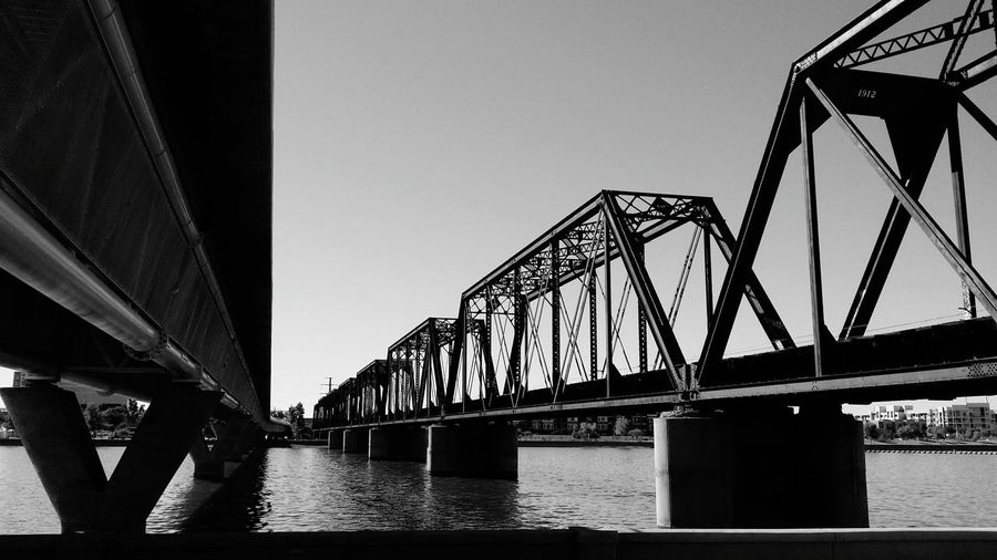 Black And White Black & White Lake Lake View Bridge Train Tracks Phoenix, AZ Tempe Tempe Beach Park Tempe Town Lake Contrast Angles Wrong Side Of The Tracks Sky 1912 EyeEm Best Shots - Architecture EyeEm Best Shots - Black + White